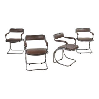 Set of 4 Chrome Cantilever Armed Chairs With Brown Faux Leather Style of Gastone Rinaldi For Sale