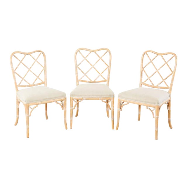 Faux Bamboo Chinese Chippendale Dining Chairs - Set of 3 For Sale