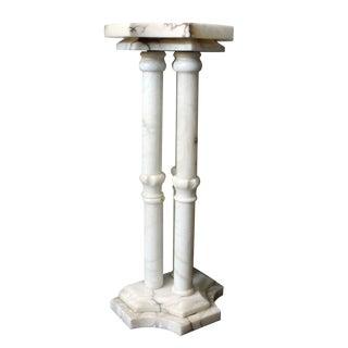 Three Pillar Alabaster Pedestal For Sale