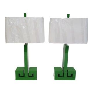Kelly Green Key Lamps - A Pair