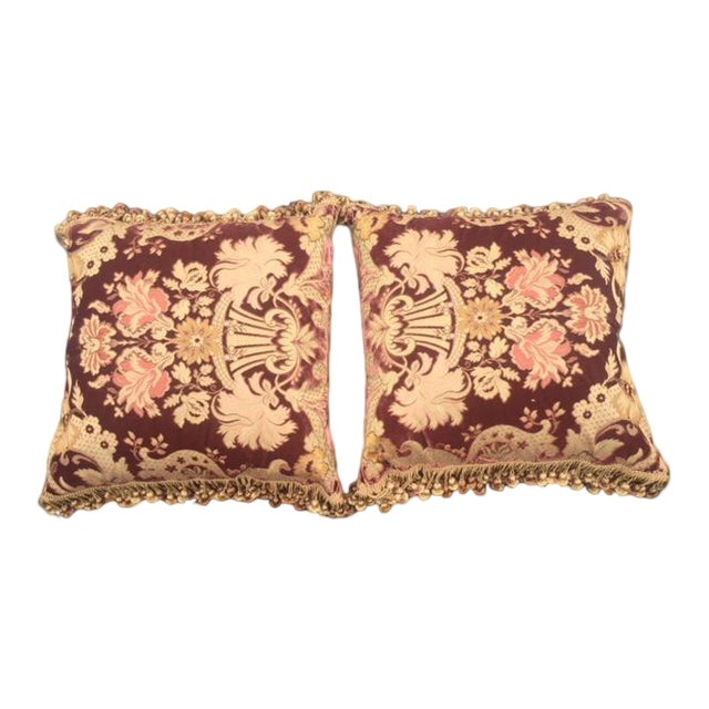 Pair of silk velvet Decorde Pams fabric pillows & silk tassels.