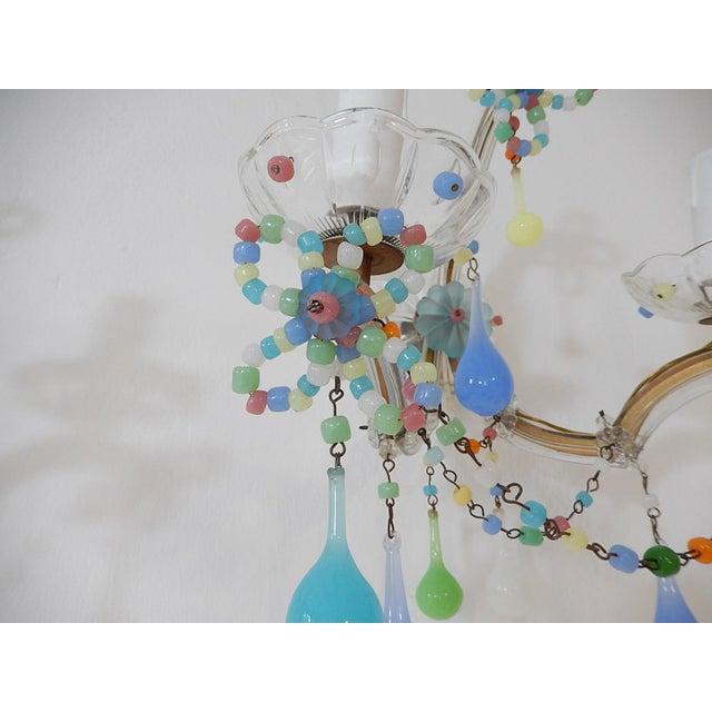 Glass French Confetti Colourful Murano Glass Opaline Sconces, Circa 1920 For Sale - Image 7 of 10