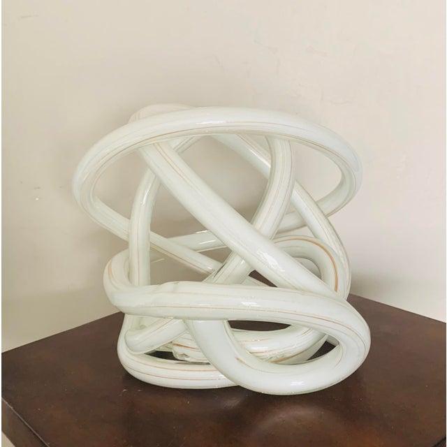 Hollywood Regency Gigantic Luxury Gilt White Art Glass Knot For Sale - Image 3 of 6