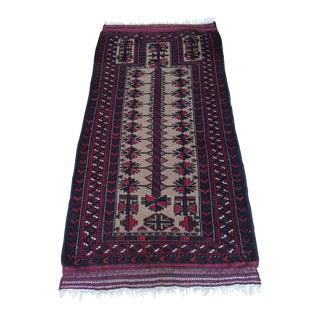 "Red & Tan Baluch Prayer Rug - 2'9""x 5'6"""