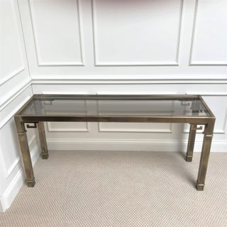 1970's Modern Mastercraft Brass & Glass Console Table Preview