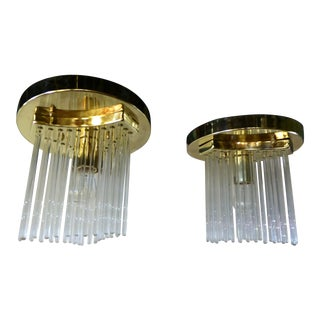 Flush Mounts by Gaetano Sciolari Brass and Glass Rods 1970s - a Pair For Sale