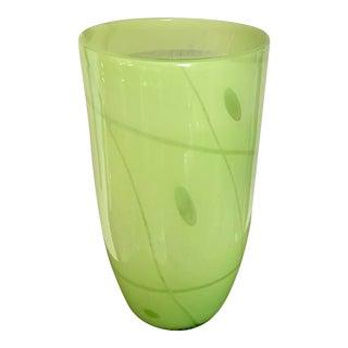 Vintage Minimalist Modern Chartreuse Green Heavy Glass Vase For Sale