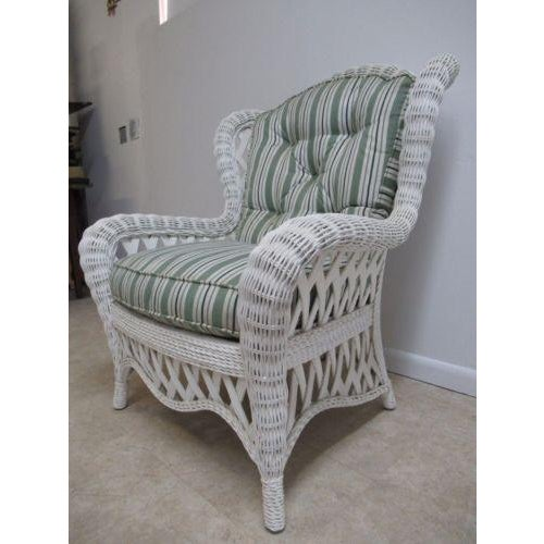 Country Vintage Custom Wicker Patio Porch Living Room Lounge Chair For Sale - Image 3 of 13