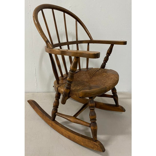 """Late 19th Century Childs Windsor Rocking Chair Custom made rocking chair with reed woven seat 16 wide at the arms x 14""""..."""