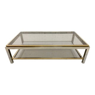 Vintage Mid-Century Italian Design Willy Rizzo Chrome Brass and Smoked Glass Coffe Table For Sale
