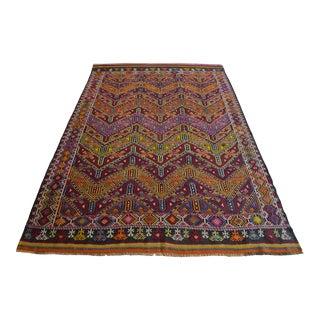 "Antique Turkish Kilim Rug Hand Woven Wool Jajim Braided Area Rug - 6'5"" X 9'10"" For Sale"