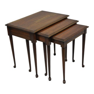Vintage Queen Anne Style Solid Cherry Wood Nesting Side End Tables - Set of 3