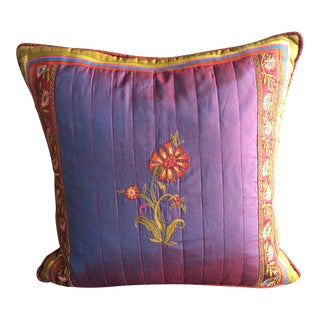 Handwoven Embroidered Silk Accent Pillow For Sale