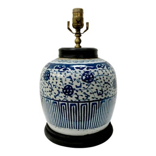 Antique Chinese 19th Century Blue & White Jar Lamp For Sale