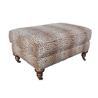 1990s Vintage Lee Industries Upholstered Leopard Print Cocktail Ottoman For Sale