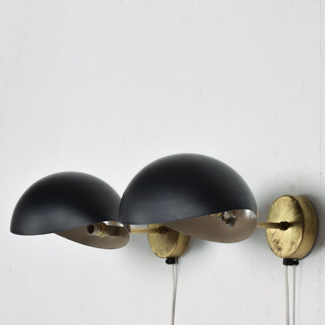 Black on Brass Italian Double Wall Sconce Antony After Serge Mouille Mid Century Modern - a Pair For Sale - Image 9 of 9