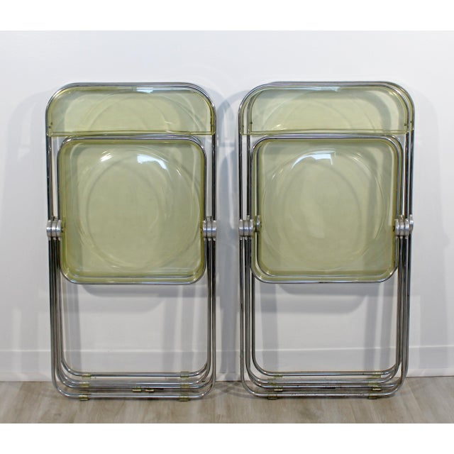 1960s Vintage Castelli Mid Century Modern Lucite Chrome Folding Side Chairs - Set of 4 For Sale - Image 9 of 12