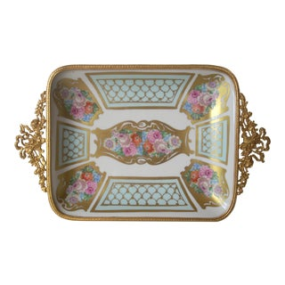 Gold Blue and Pink Limoges Tray For Sale