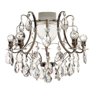 Nickel Plated Bathroom Chandelier With Crystal Shapes Almonds and Orbs For Sale