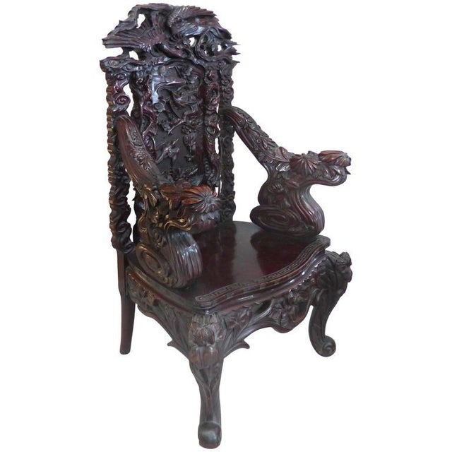 Late 19th Century Japanese Meiji Throne Chair For Sale - Image 11 of 11