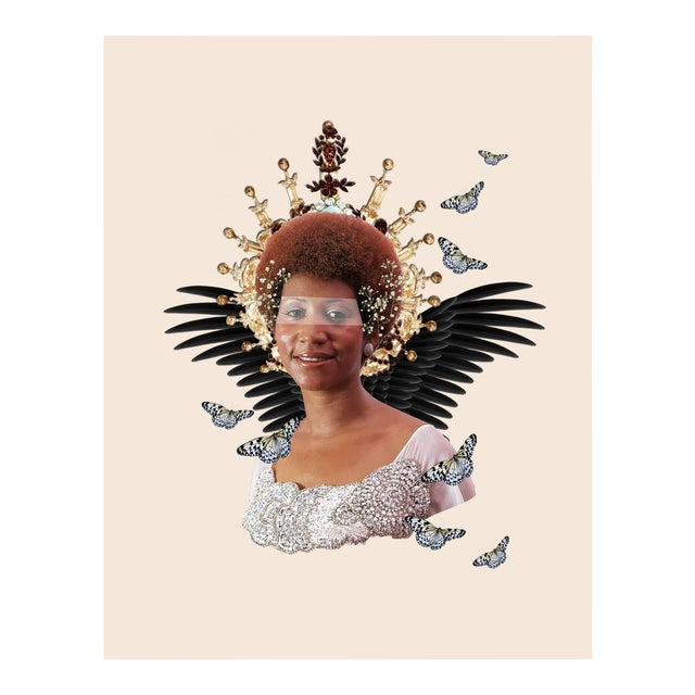 'Reath Angel' Original Collage Print by by Rochelle Sodipo For Sale