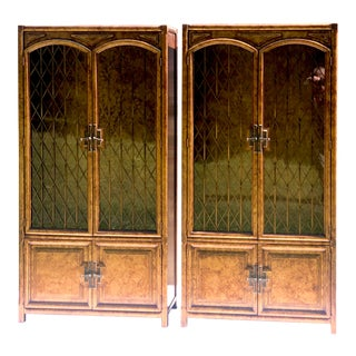 Stunning Faux Tortoiseshell Designer Display Cabinets - a Pair For Sale