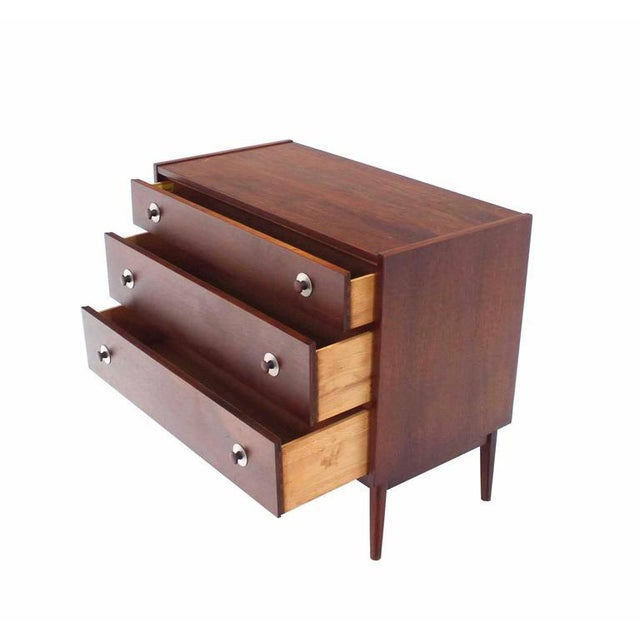 Three-Drawer Danish Modern Walnut Bachelor Chest For Sale - Image 4 of 6