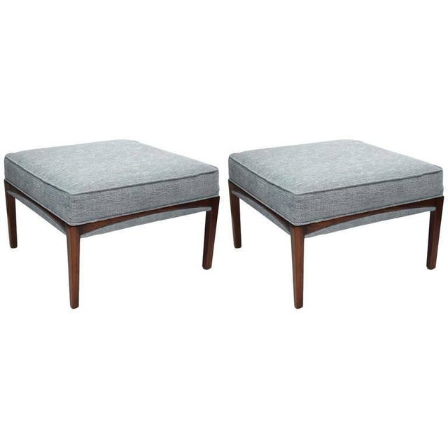 Blue 1960s Mid-Century Modern Natural Walnut Ottomans - A Pair For Sale - Image 8 of 8