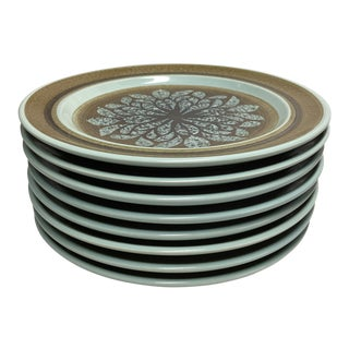 1970s Franciscan Earthenware Nut Tree Dinner Plates - Set of 8 For Sale