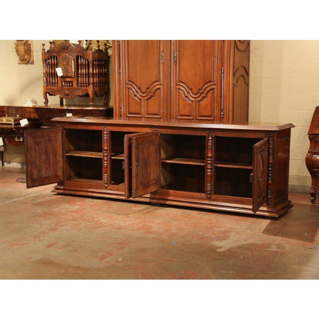 Wood Early 19th Century French Louis XIII Carved Walnut Four-Door Enfilade Buffet For Sale - Image 7 of 13