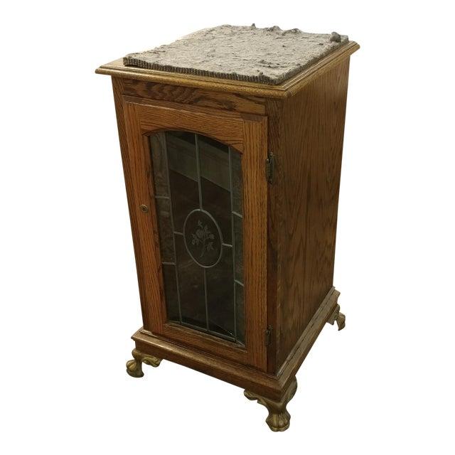 Luxury Antique Slot Machine Oak Stand Cabinet Wetched Glass Door