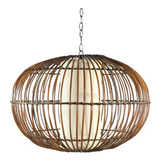 Vintage MCM Rattan Cage Pendant Chandelier With Interior Shade After Franco Albini For Sale