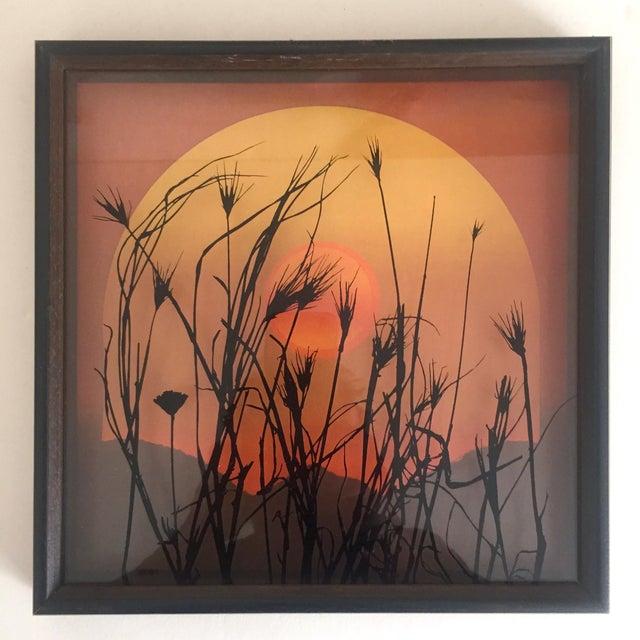 "Boho Chic 1974 Vintage Modernist Virgil Thrasher ""Lucid Lines"" Painted Glass 3d Shadow Box Art - 3 Piece Set For Sale - Image 3 of 11"