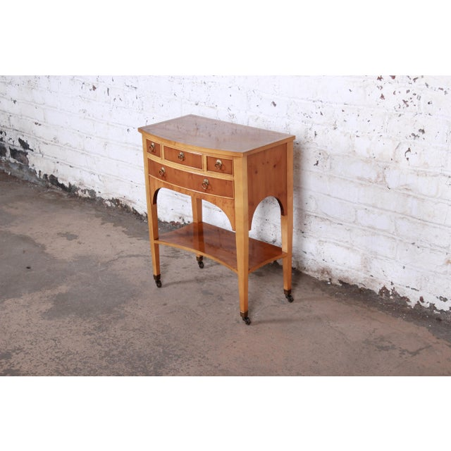 Neoclassical Baker Furniture Neoclassical Burl Wood Entry Table For Sale - Image 3 of 13
