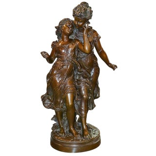 Antique French Bronze Sculpture of Two Sisters, Signed Moreau, Circa 1880 For Sale