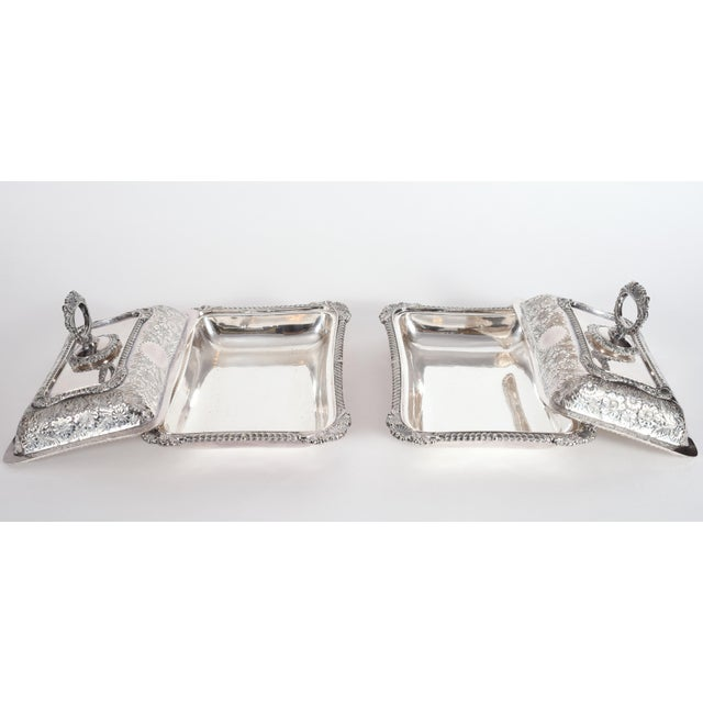 English Silver Plated Tableware Serving Dishes (2 Available) For Sale - Image 4 of 12