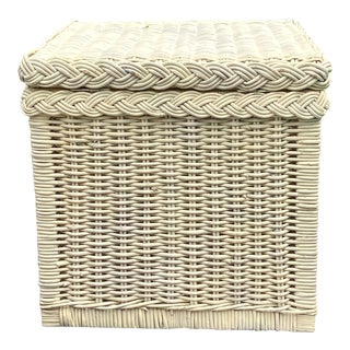 Vintage Distressed White Wicker Square Storage Trunk For Sale