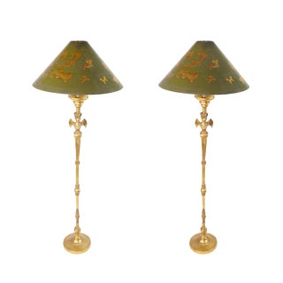 1970s Giacometti Style Gold-Leaf Sculptural Griffin Claw and Ball Foot Table Lamps - a Pair For Sale