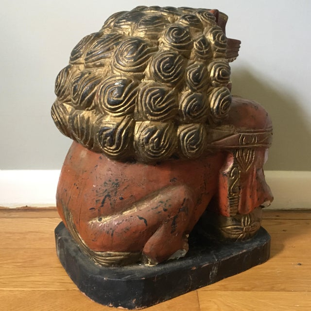 Large Carved Foo Dog Figure For Sale In Richmond - Image 6 of 9