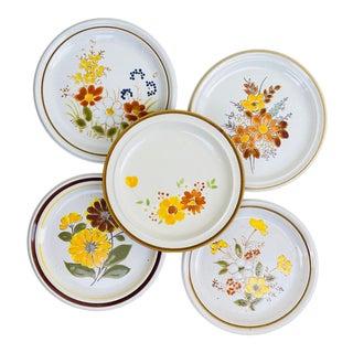 Vintage Mismatched Floral Dinner Plates- Set of 5 For Sale