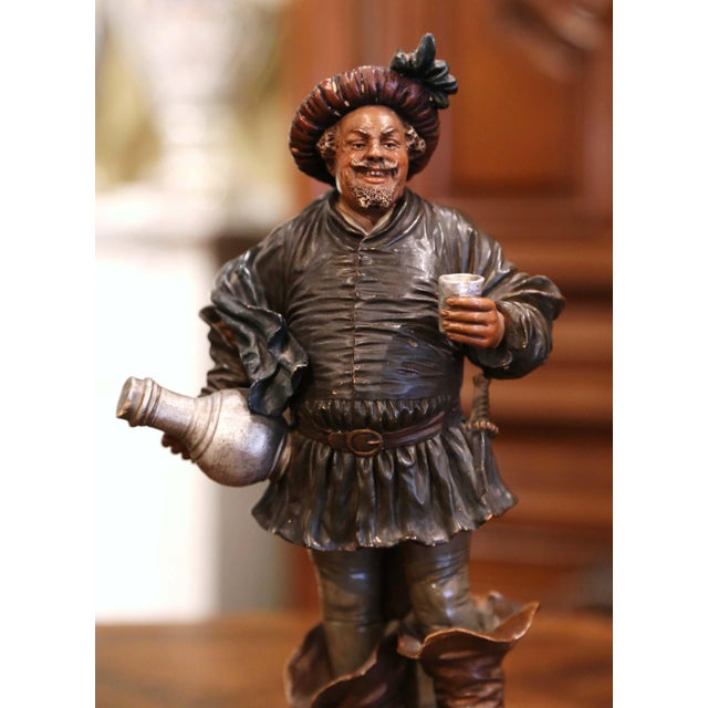 Accessorize your wet bar or wine cellar with this antique musketeer terracotta figurine. Created in Northern France, circa...
