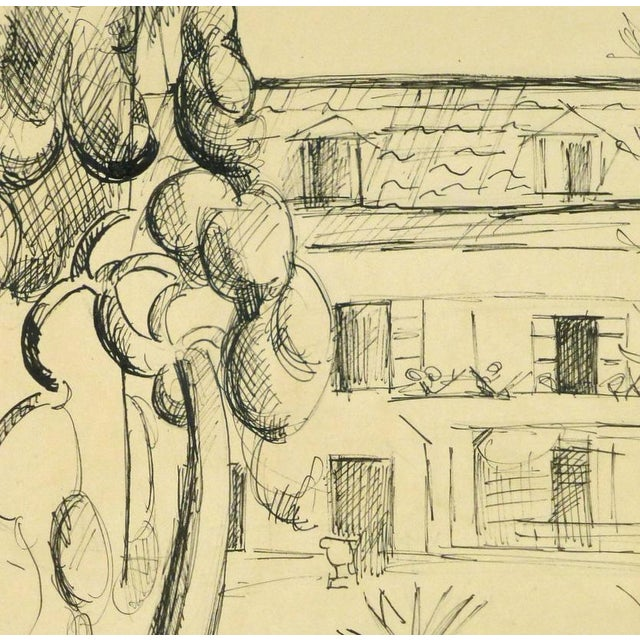 Cheerful ink drawing of a house surrounded by trees, circa 1950. Displayed on a white mat with a gold border and fits a...
