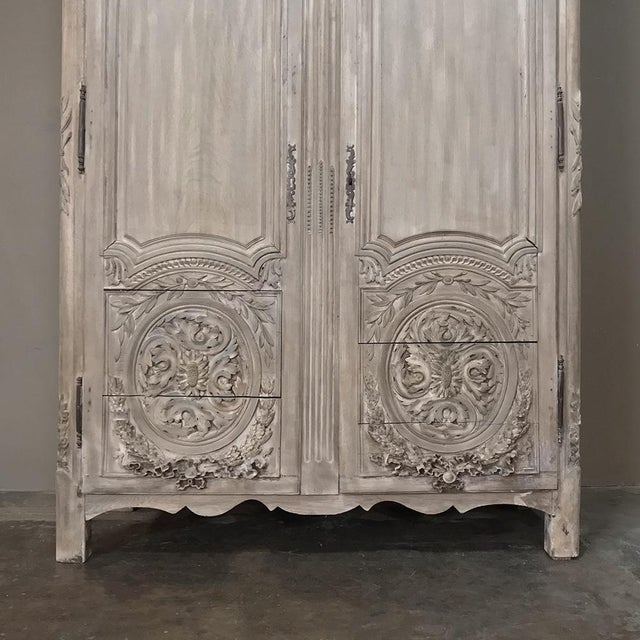 White 18th Century Country French Louis XVI Period Whitewashed Armoire For Sale - Image 8 of 12