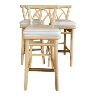 Vintage McGuire Bamboo Barstools- Set of 3 For Sale