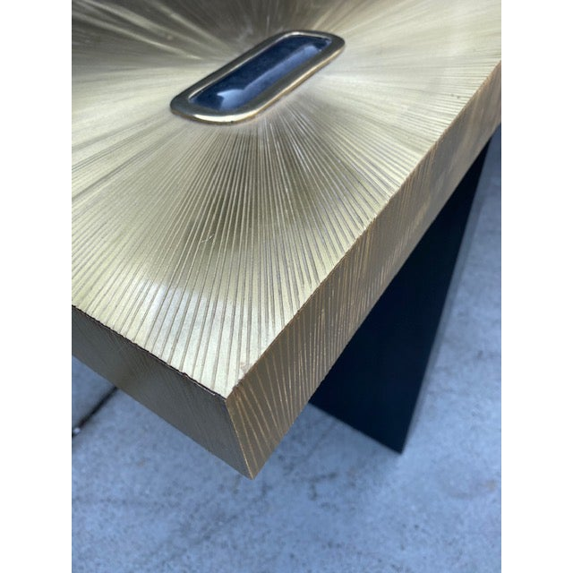 Black 1960s Modern Soleil Brass Console Table For Sale - Image 8 of 9