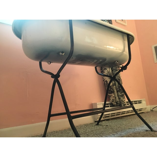 Vintage Hungarian Baby Tub on Stand For Sale - Image 7 of 7