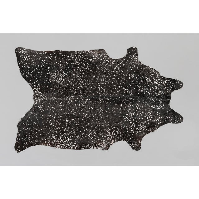 Contemporary Black + Silver Genuine Brazilian Cowhide For Sale - Image 3 of 3