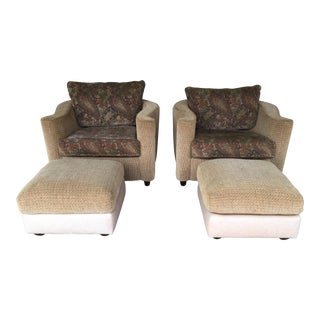 Thayer Coggin Pair of Contemporary Club Chairs & Ottomans- 4 Pieces For Sale