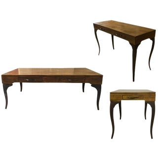 Mid-Century Modern Melange Coffee Table, Console Table & End Table Set - 3 Pieces For Sale