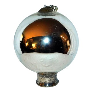 Antique Mercury Glass Gazing Ball For Sale
